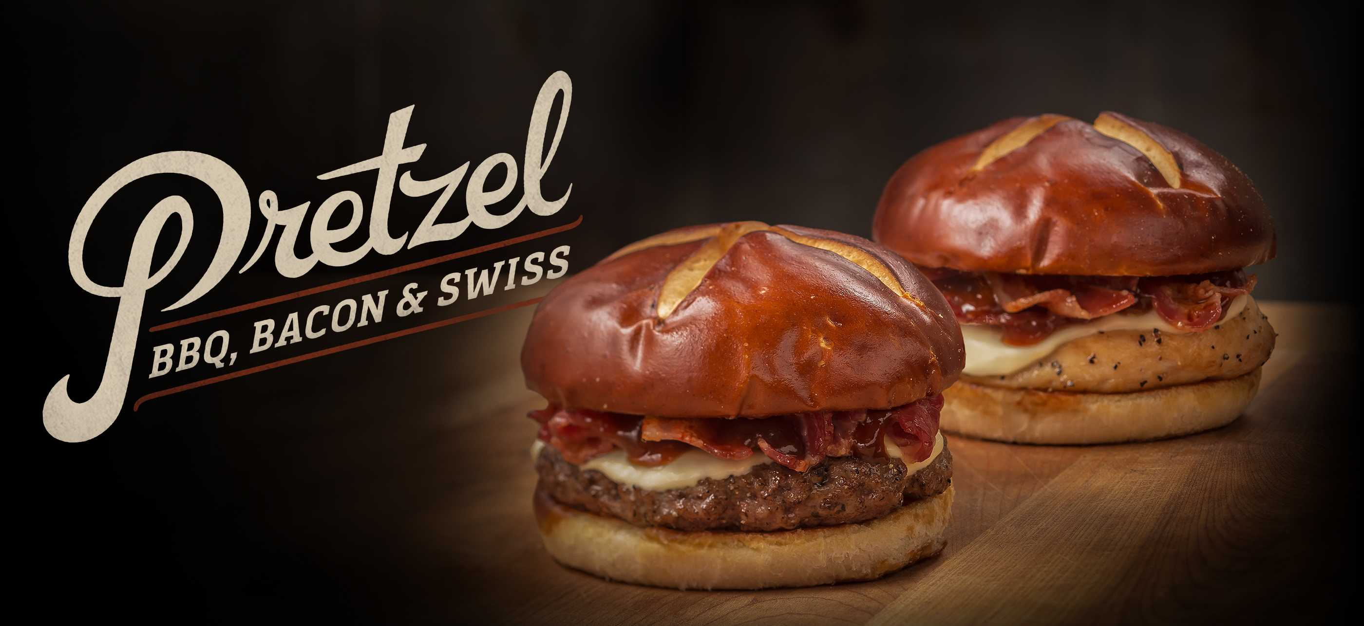 Pretzel BBQ Bacon & Swiss Burger and Chicken Sandwich