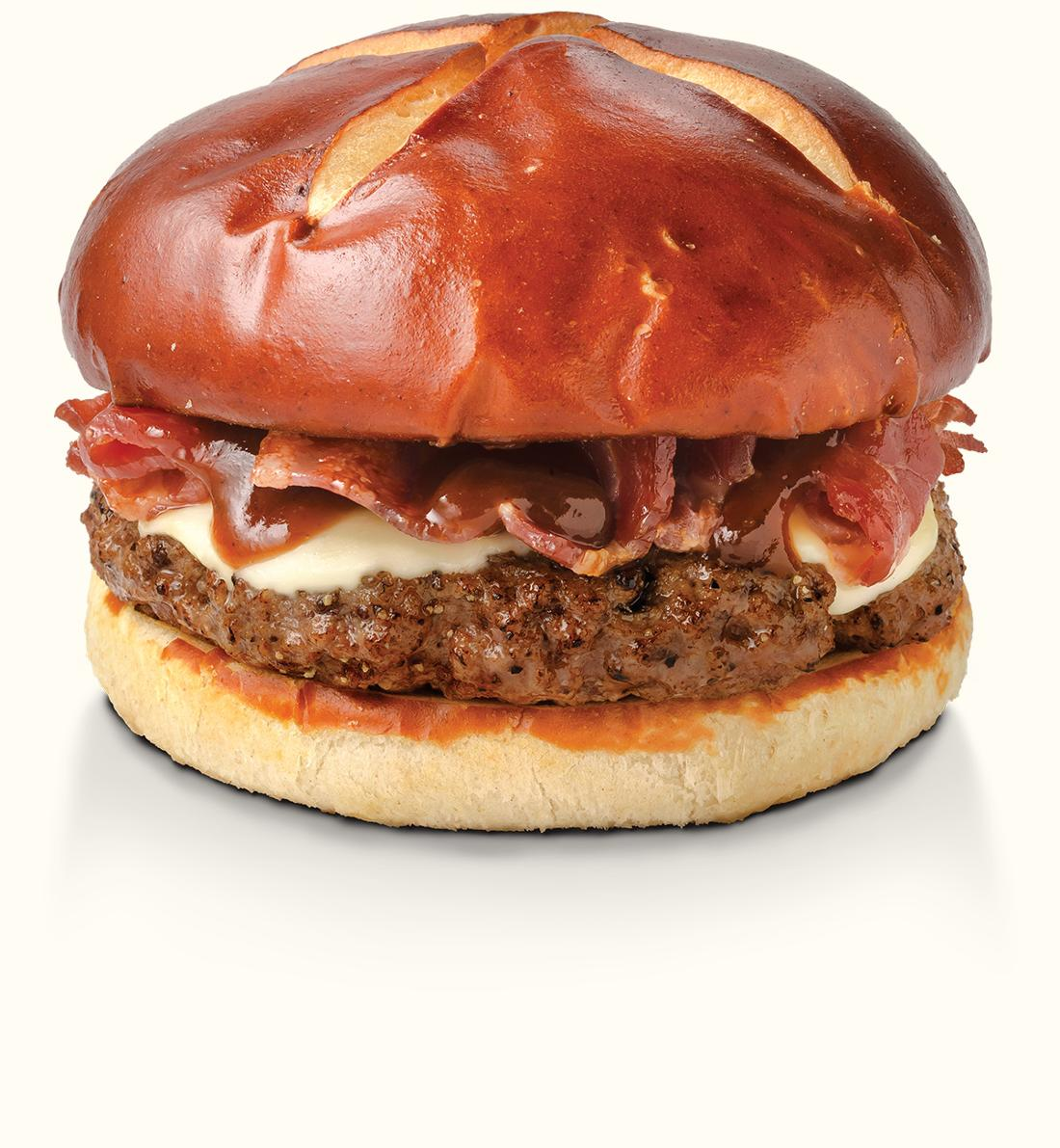 Pretzel BBQ Bacon & Swiss Burger